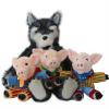 LARGE STORY TELLING HAND PUPPET SET - WOLF & 3 LITTLE PIGS