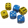 YELLOW & BLUE SPOT DICE PACK OF 6