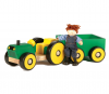 WOODEN TRACTOR & TRAILER WITH FARMER